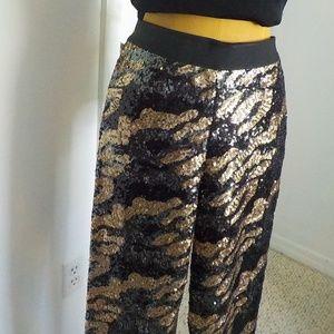 Black/Gold Metallic Sequence Straight Leg Pants